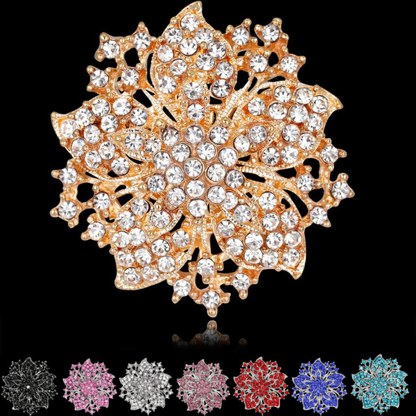 High Quality Sparkly-Gold Plated Clear Rhonestone Crystal Flower Victorian Flower Pin Brooch 8 colors for choices