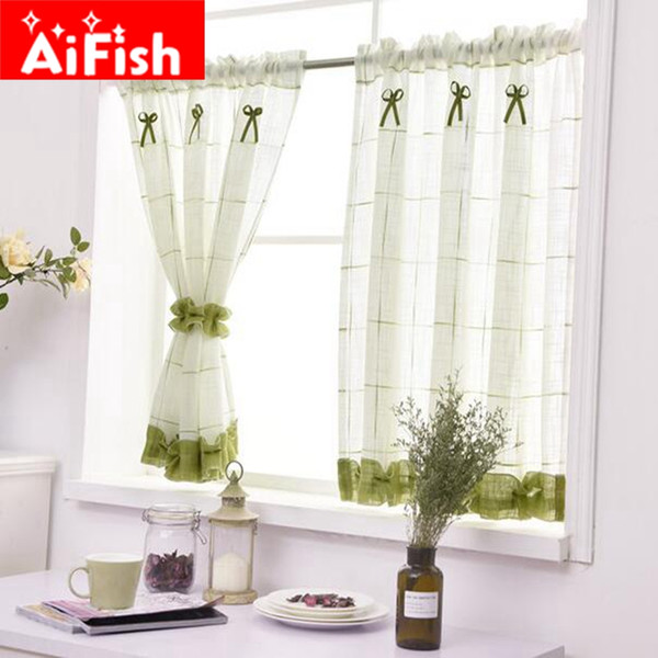 best selling Romantic Sweet Lace Home Garden Screens Half Coffee Curtain Kitchen Dust-proof Curtains Balcony Toilet Pritition Curtain-40