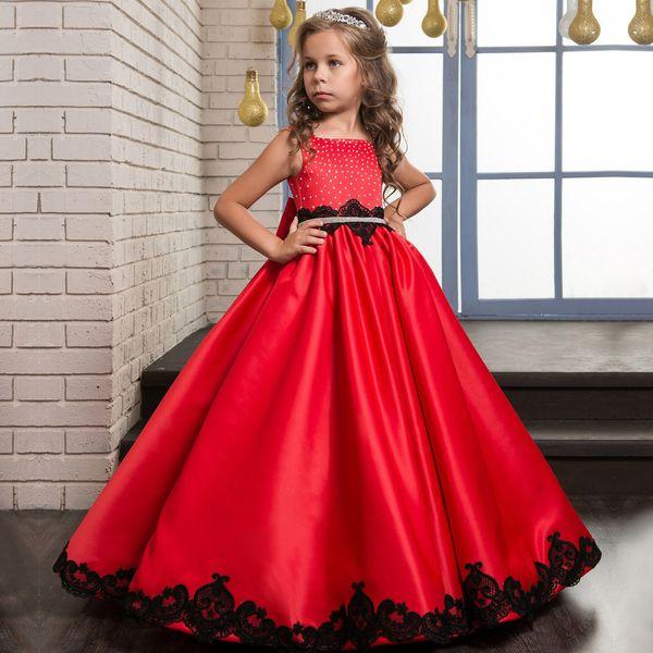 Abito per bambini Abito classico europeo e americano in raso rosso principessa abito da sposa abito in pizzo nero
