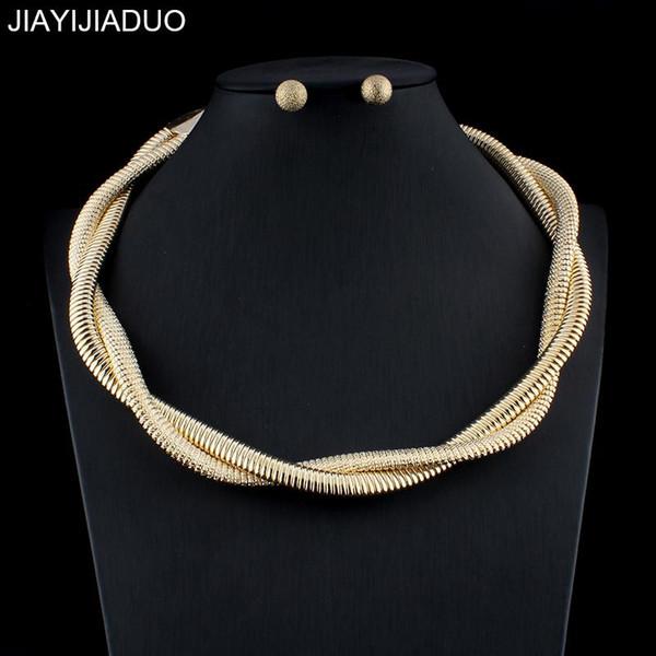 jiayijiaduo New Fashion Dubai Gold Color Necklace Earrings Set for Women Wedding Jewelry Set Gift Party dropshipping 2018