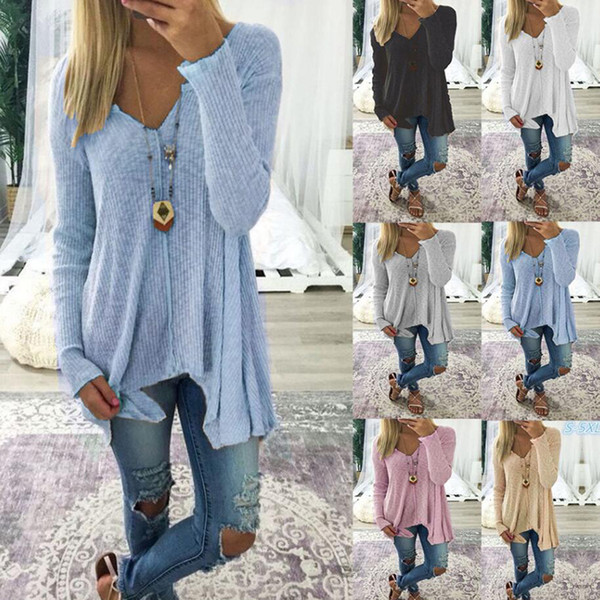 2018 Solid Colors V-Neck Sexy Blouses Slim Knitted Long Sleeve Femme Tops for Women Clothing Shirt Autumn Irregular Top Loose Blouse