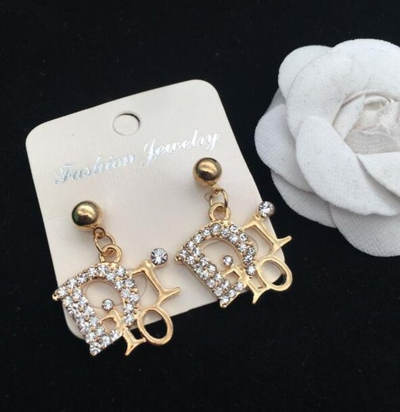 New fashion ladies high-grade rhinestones English alphabet earrings ear clips gift party accessories
