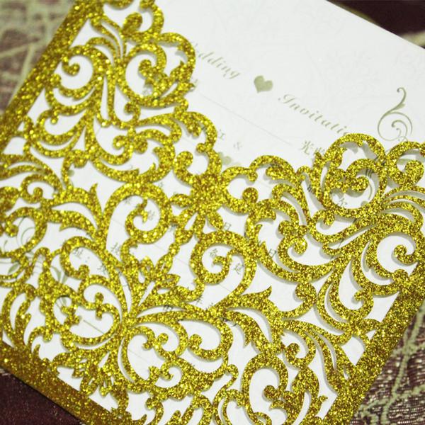 2018 Yeni Sıcak Satış Lazer Kesim Altın Glitter Fil Cep Düğün Davetiyesi Kartları Deluxe Lüks Parti Güzel Süslemeleri En Yüksek Kalite