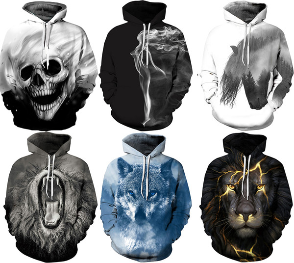 2017 Autumn Winter Men's Hoodies With Hat Pocket Sweatshirts Pullover Cool Punk 3D Print Plus size Christmas High Quality Long Sleeve