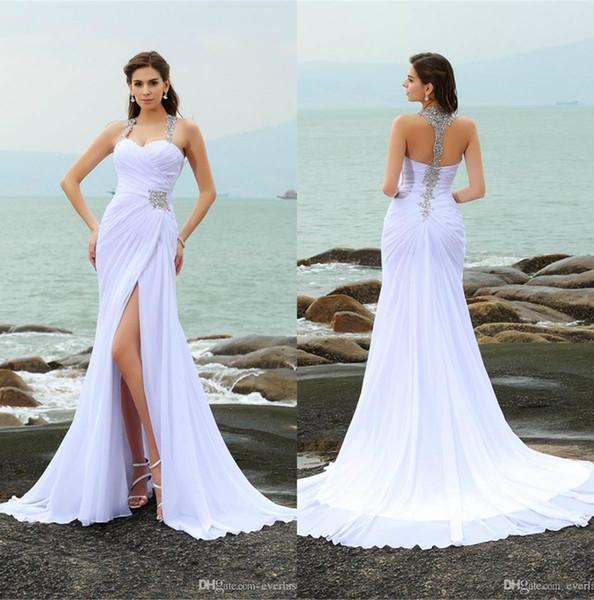 Elegantes correas rebordear sin mangas de gasa larga vestidos de boda en la playa Frente de hendidura cristales blancos vestido de novia vestidos de noiva robe de mariée