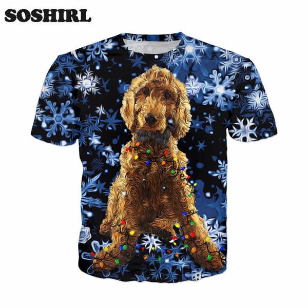 SOSHIRL Komik Gangster Noel T-shirt Sevimli Kar Köpek Tatil Çift Serin Tee Gömlek Kısa Kollu Rahat adamın Üst Bırak Gemi