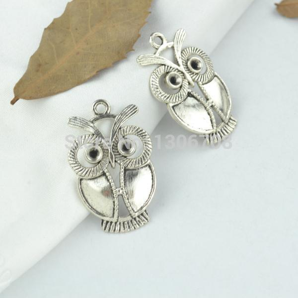 50Pcs Antique Silver Owl Charms Pendant For Jewelry Findings 21.5x9mm