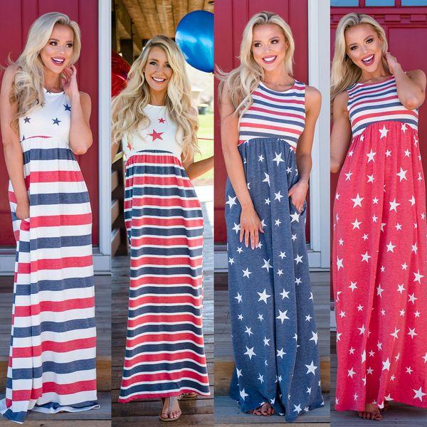 5 Farben Frauen Damen Sterne Streifen Maxi Kleid Clubwear Party Unabhängigkeitstag Sleeveless Mutterschaft Print Casual Kleider AAA451