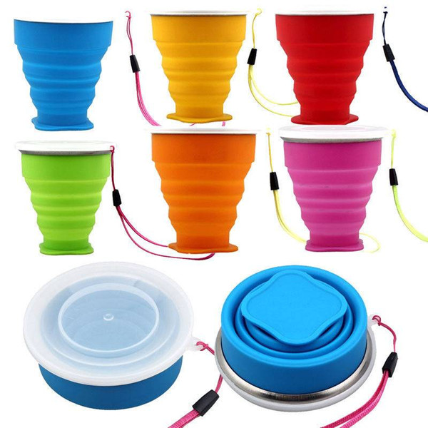 Creative Portable Silicone Telescopic Drinking Bottle Candy color Collapsible Folding Cup Travel Camping water bottle cup-fast shipping