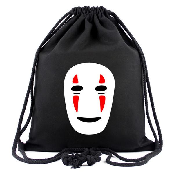 Spirited Away Anime Black Bag Nenhum Homem Rosto Dos Desenhos Animados Mochila Totoro Casual Saco Ao Ar Livre ou Presente