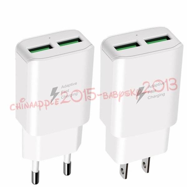 Dual usb wall chargers 2A Real Fast Adaptive Eu US Home travel wall charger power adapter for iphone samsung s7 s8 note 7 8 android phone