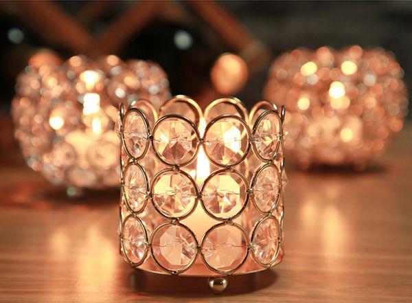 top popular Wedding decoration Crystal beaded bling votive candle holder tealight holder 6,5x6,5x7,5cm 96pcs lot 2021