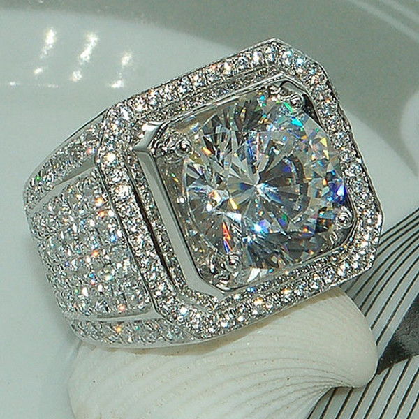 top popular Fashion 925 Silver Jewelry Handmade Full Diamond Mens Wedding Rings Top Quality Hip Hop Crytal Gems Ring 2019