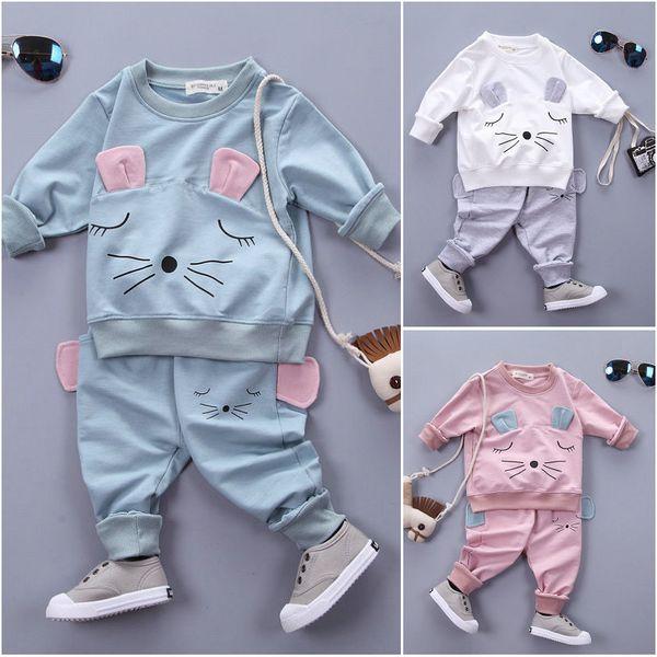Toddler Kids Baby Girl Clothes Cat T-shirt Tops Pants 2PCS Outfits Clothing Set Sport Suit Children Tracksuit