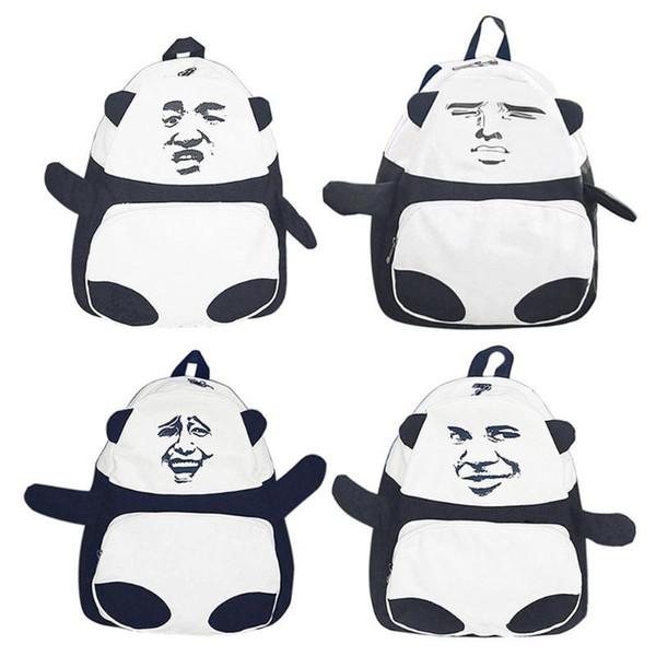 3D Funny Panda Pattern Shoulder Bag Canvas Large Soft Backpack Women Fashion Cool Student Backpack for Teenager Girls Rucksack