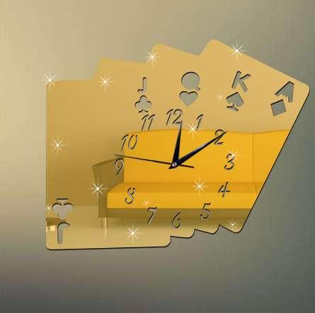 New Poker Mirror Wall Clock On The Wall Fashion Luxury And Classic Needle Clocks For Living Room Playing Card Stickers