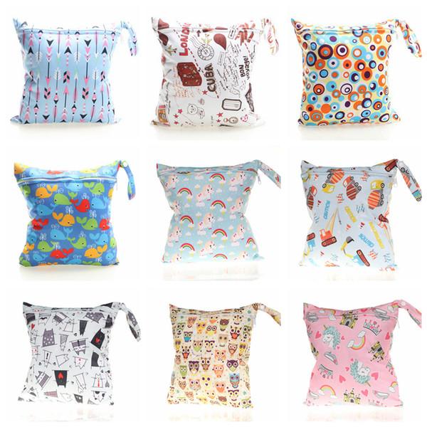 top popular Diaper Bags Unicorn Zipper Wet Bags Printed Storage Organizer Wet Dry Bag Waterproof Reusable Cloth Pocket Stroller Travel Bag YFA231 2021