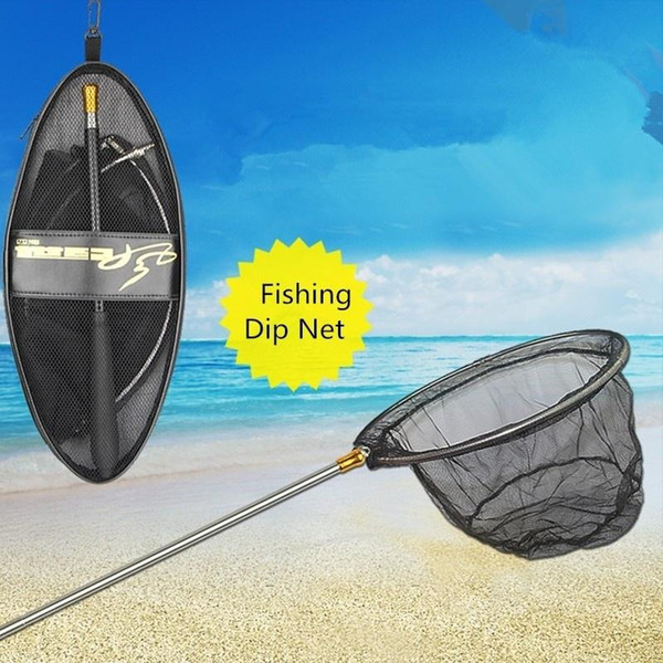 2018 NEW Fashion Portable retrattile palo telescopico Pieghevole Fishing Landing Net Dip Pesca netto con borsa attrezzi da pesca