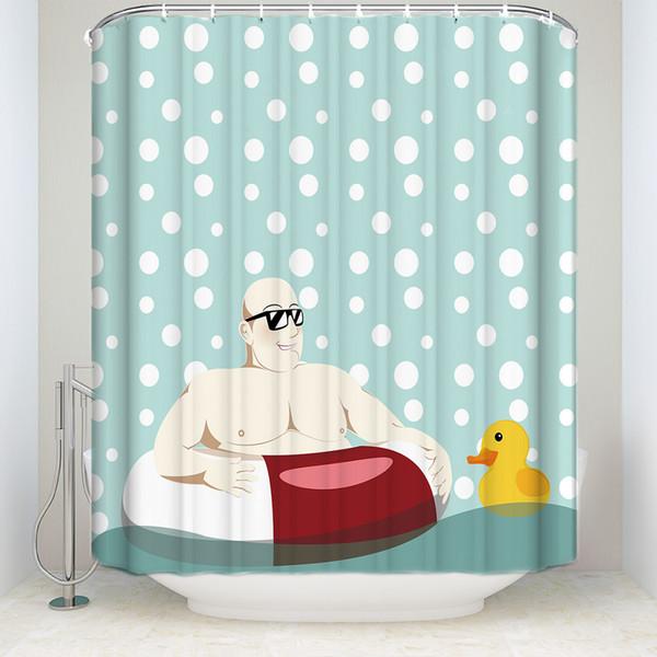 Kreatives Design Schwimmen Mann Gelbe Ente Duschvorhang Wasserdichte Polyester Stoff Badezimmer Dekor Gedruckt Duschvorhang