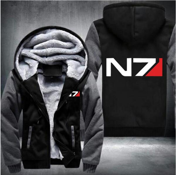 Hiver Mass Effect N7 imprimé Hood Hommes Chaud Fleet Hoodies Automne Vêtements pulls molletonnés hommes femmes Zipper veste mode hoodie streetwear