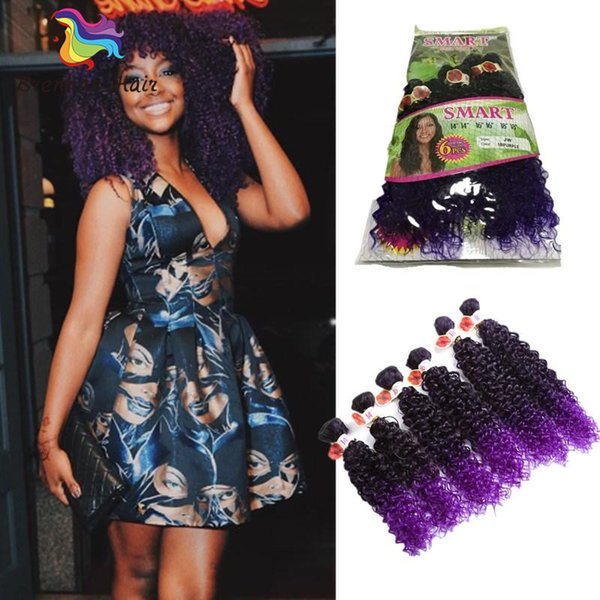 6 bundles/lot Ombre synthetic hair extensions kinky curly weave hair bundles 14inch 16inch 18inch jerry curl hair weave bundles