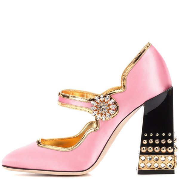 Brand New Design Lolita Style Pink Satin Mary Jane Shoes Thick Chunky Jewelry Heel Rhinestone Buckle Women Pumps