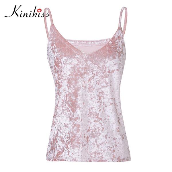 Kinikiss Women Velvet Tank Tops Fashion Sexy Female V-Neck Camisole Spaghei Strap Tops Pink Coffee Loose Shine Velvet Camis