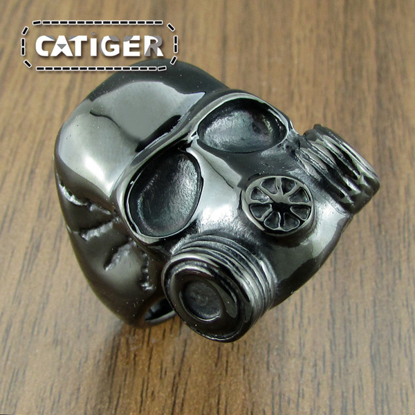 Fress Shipping! Punk 316L Stainless Steel Black Plated Gas Mask Style Skull Head Ring
