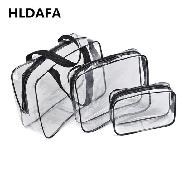HLDAFA 2018 3Pcs Set PVC Travel Bag Women Transparent Storage Bag Zip Lock Plastic Waterproof WMakeup Cosmetic Cases