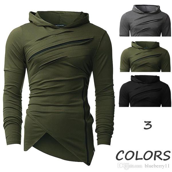 Invierno Hombre Moda Hip Hop Sudaderas con capucha Diseño irregular Slim  Fit Jersey Cremallera Ocio Ocio fb3126f8d56