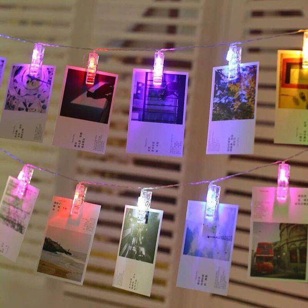 top popular Umlight1688 LED String Lights Novelty Fairy Lamp Starry Battery Card Photo Clip Luminaria Festival Christmas Wedding Decoration 2020