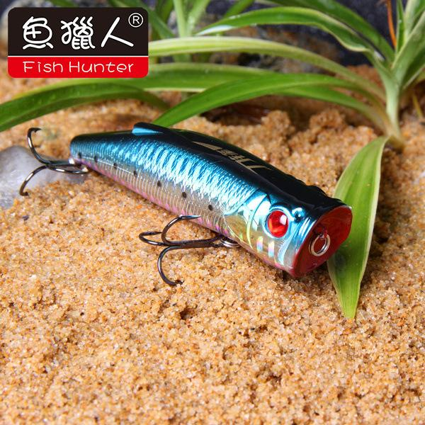 90mm 19.5g Popper Fishing Baits with Double Treble Hook Lifelike Fishing Lure Artificial Plastic Hard Bait for Saltwater