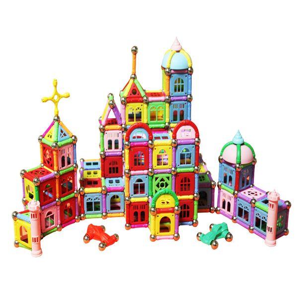 Bloques de construcción magnéticos establece 376 piezas juguetes educativos construcción palos de construcción Kit de juguetes apilables conjunto juguetes para niños no tóxicos C4993