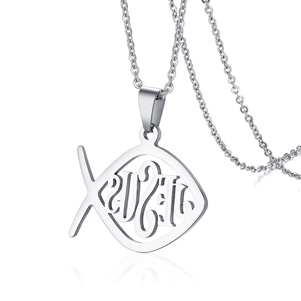 Wholesale Christian Fish Necklace Religious Jewelry Stainless Steel