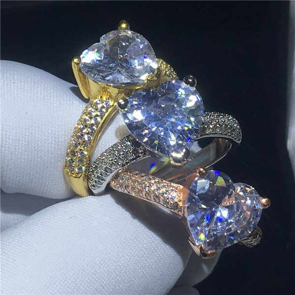 3 colors Heart Shape ring Yellow Gold Filled Clear 3t Sona Cz Stone Engagement wedding band ring for women Bridal Finger Jewelry