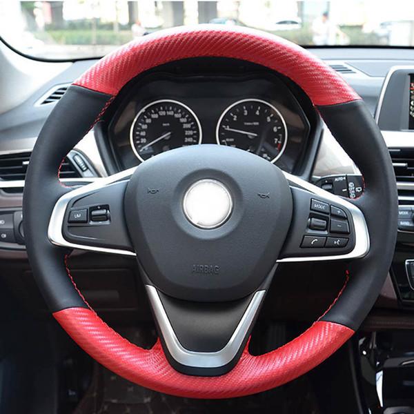Custom PU Leather Carbon Fiber Steering Wheel Stitch Cover For BMW 220i 218i X1