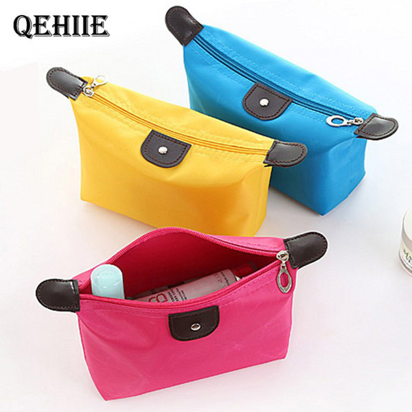 Candy Color Ladies Cosmetic Bag Nylon Waterproof Beautician Makeup Cosmetics Shop Brush Travel Storage Organizer Essential Free Shipping