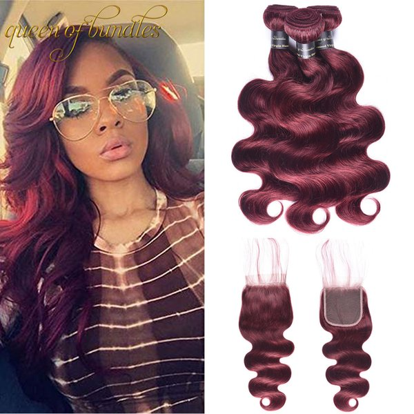 Königin der Bundles Pre-colored brasilianische Jungfrau-Haar-Körper-Welle mit Schließung 99J # Rot Burgunder 4 Bundles Menschenhaar-Webart mit Schließung