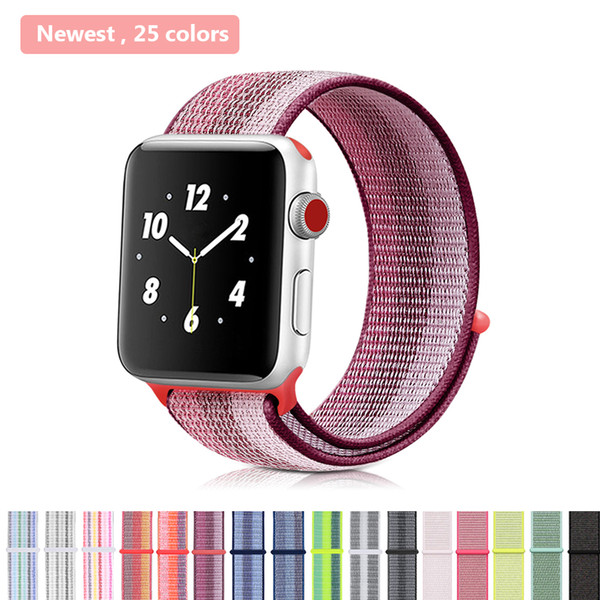 Sport Loop Band for Apple Watch 38mm 42mm Bracelet Belt Strap Nylon Woven Wrist bands for iWatch Series 3 2 1, Many Colors