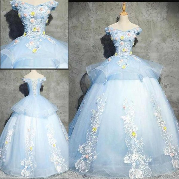 Discount Real Appliques Lace Quinceanera Dresses Ball Gowns Off The Shoulder Flowers Sweet 16 Dresses Floor Length Evening Party Gowns
