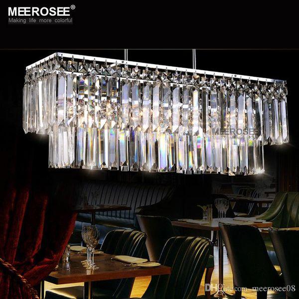 Modern Chandelier Crystal Light Fitting Rectangle Hanging Lamp for Dining room Lustres Home Lighting Luminaire