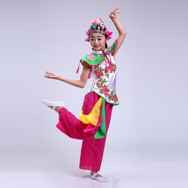 Chinese opera costumes for girls china national dance clothes for kids performance clothing Hua Mulan cosplay drama dance