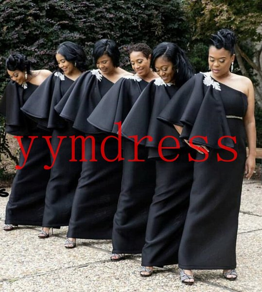 Black Bridesmaid Dresses South Africa Style Nigerian Plus Size Mermaid Maid Of Honor Gowns For Wedding One Shoulder Crystals Half Sleeve