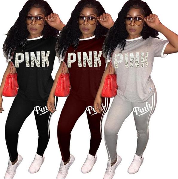 1be6d9d65bb Горячие продажи розовый женские спортивные костюмы весна лето стиль пот  рубашка Письмо печати спортивный костюм женщины