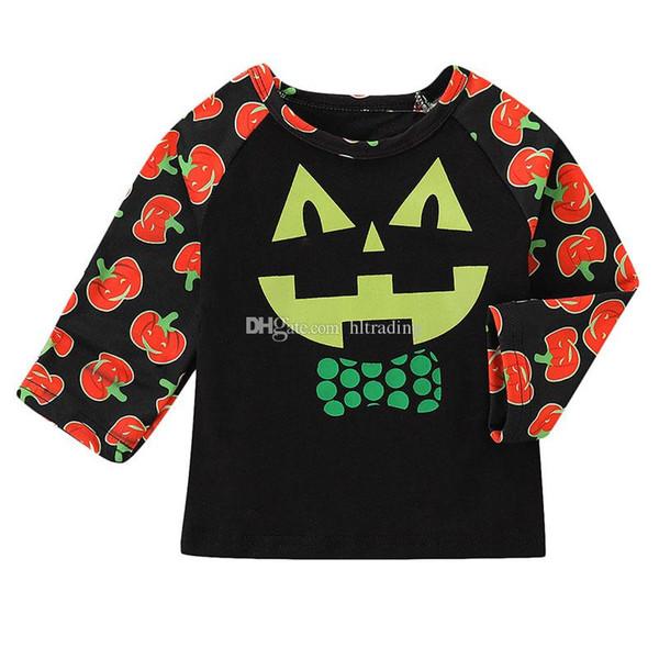 Bebek erkek kız kabak baskı T-Shirt 2018 sonbahar Cadılar Bayramı çocuk Tees Tops çocuk Giyim C5166