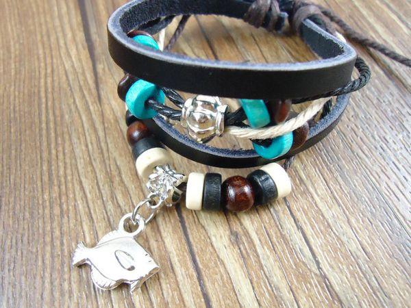New arrival handmade alloy fish charms pendants belt wrap genuine leather wristband mens bracelets jewelry for women