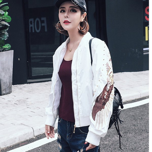 Spring Autumn New Women Jacket Embroidery Long Sleeve Basic Coat Ladies Zipper Jacket Female Casual Stand Collar Outerwear P1633
