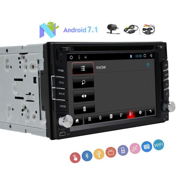 6.2 '' Pantalla táctil capacitiva HeadUnit Doble Din Car estéreo Android 7.1 GPS coche DVD Reproductor de CD Cámara inalámbrica trasera WIFT Enlace espejo