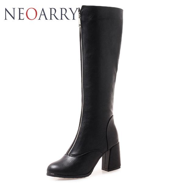 Neoarry Zipper Botas Femininos Hoof tacones Knight Boots Black White Red Botas de moto Hasta la rodilla Botas Mujer Tamaño 32-46 T178