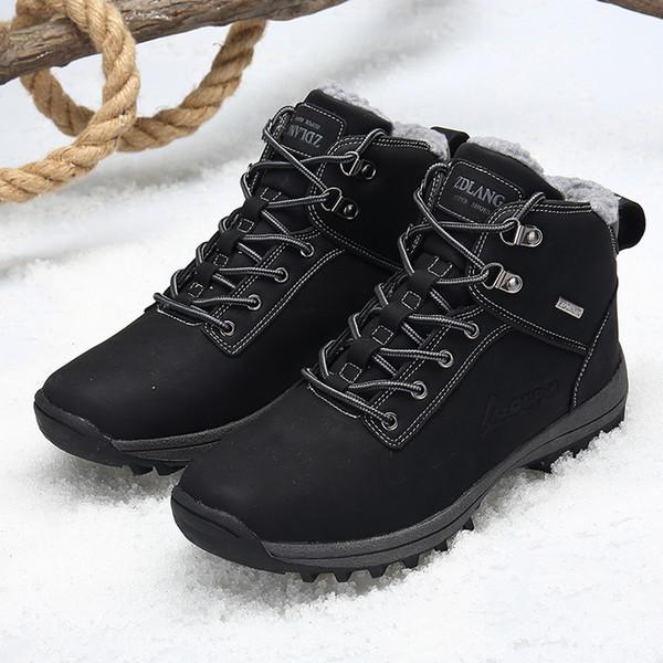 Mens Martins Botines de gamuza Estilos musculares de cuero Tacones bajos Tobillo alto Zapatos de senderismo Cálido Invierno Botas de nieve Trabajo al aire libre size12 13 14